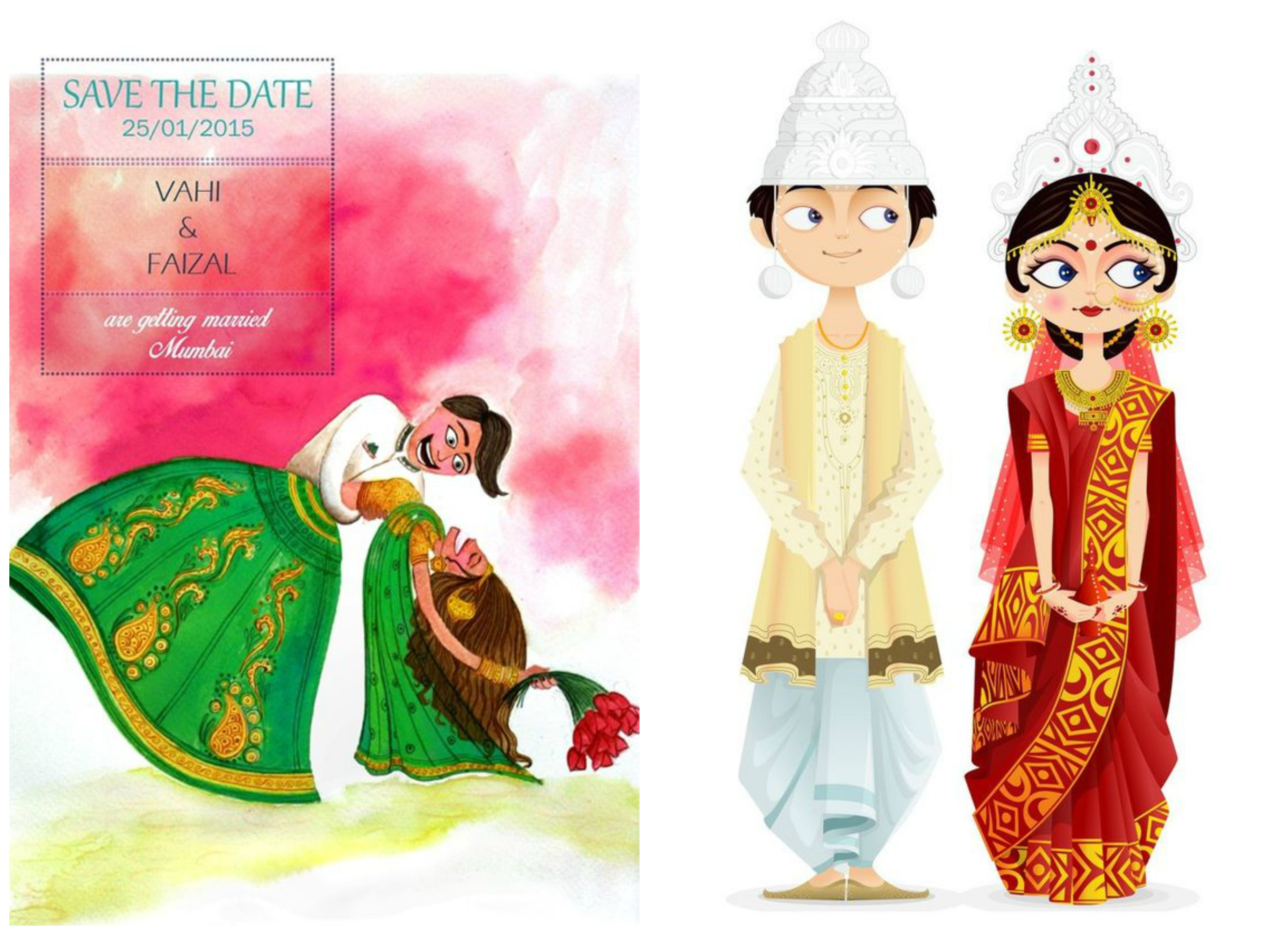 Indian Cartoon Wedding Invitations Inspiration Frugal2fab