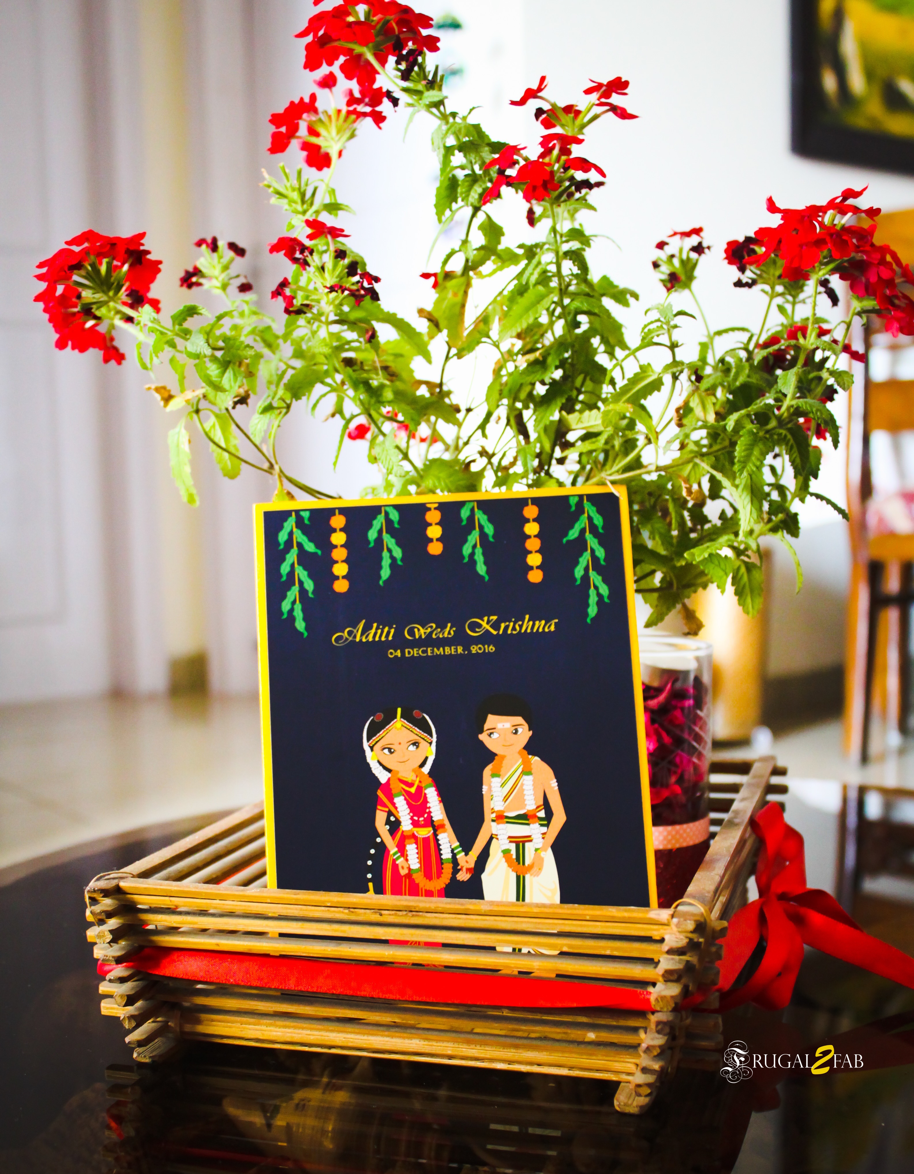 Cute Indian Cartoon Wedding Invitation Card
