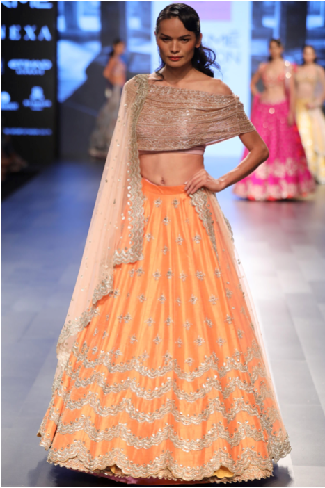 Embroidered Orange Lehenga