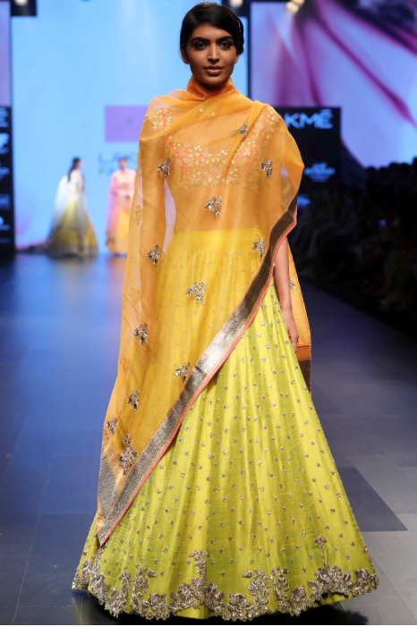 Yellow Pink Silk Lehenga