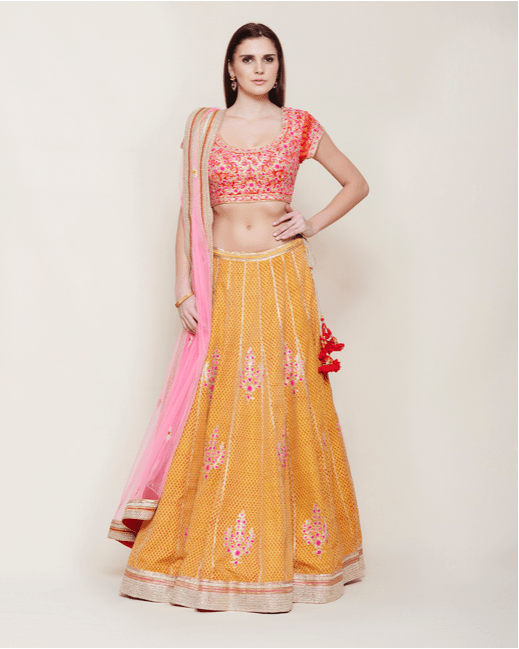Yellow Red Gota Lehenga