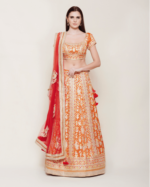Orange Brocade Gota Lehenga