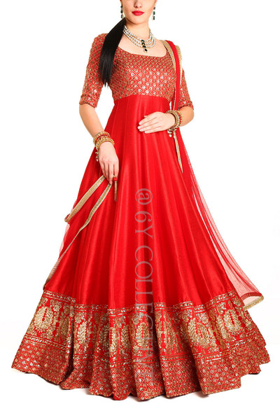 Kumkum Red Cascading Anarkali