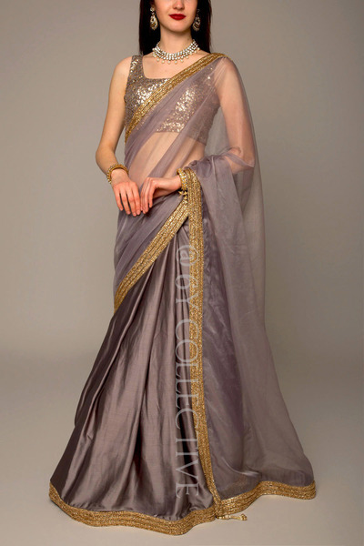 Ash Satin Organza Saree