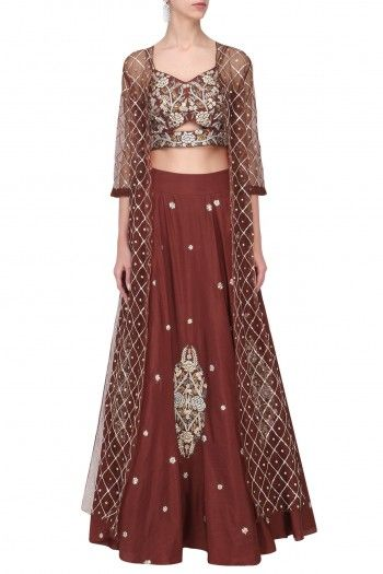 Rust Red Embroidered Croptop Skirt