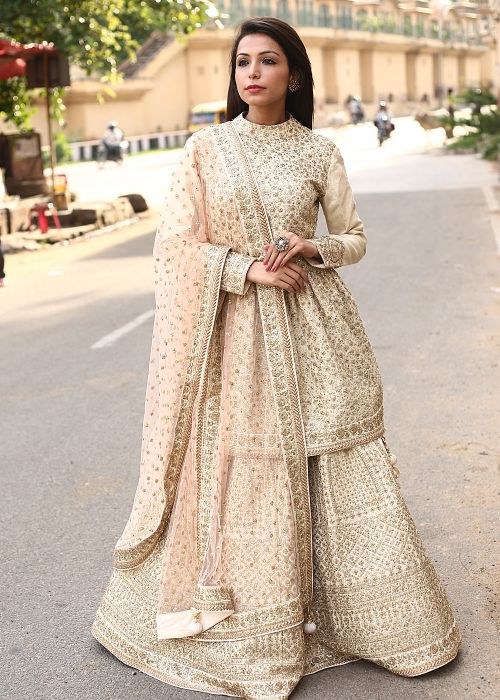 Off White Silk Lehenga