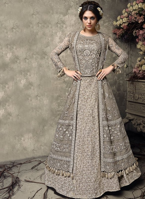 Grey Embroidered Banarsi Jacquard Lehenga