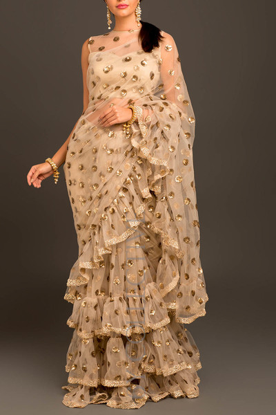 Beige Retro Ruffled Sari