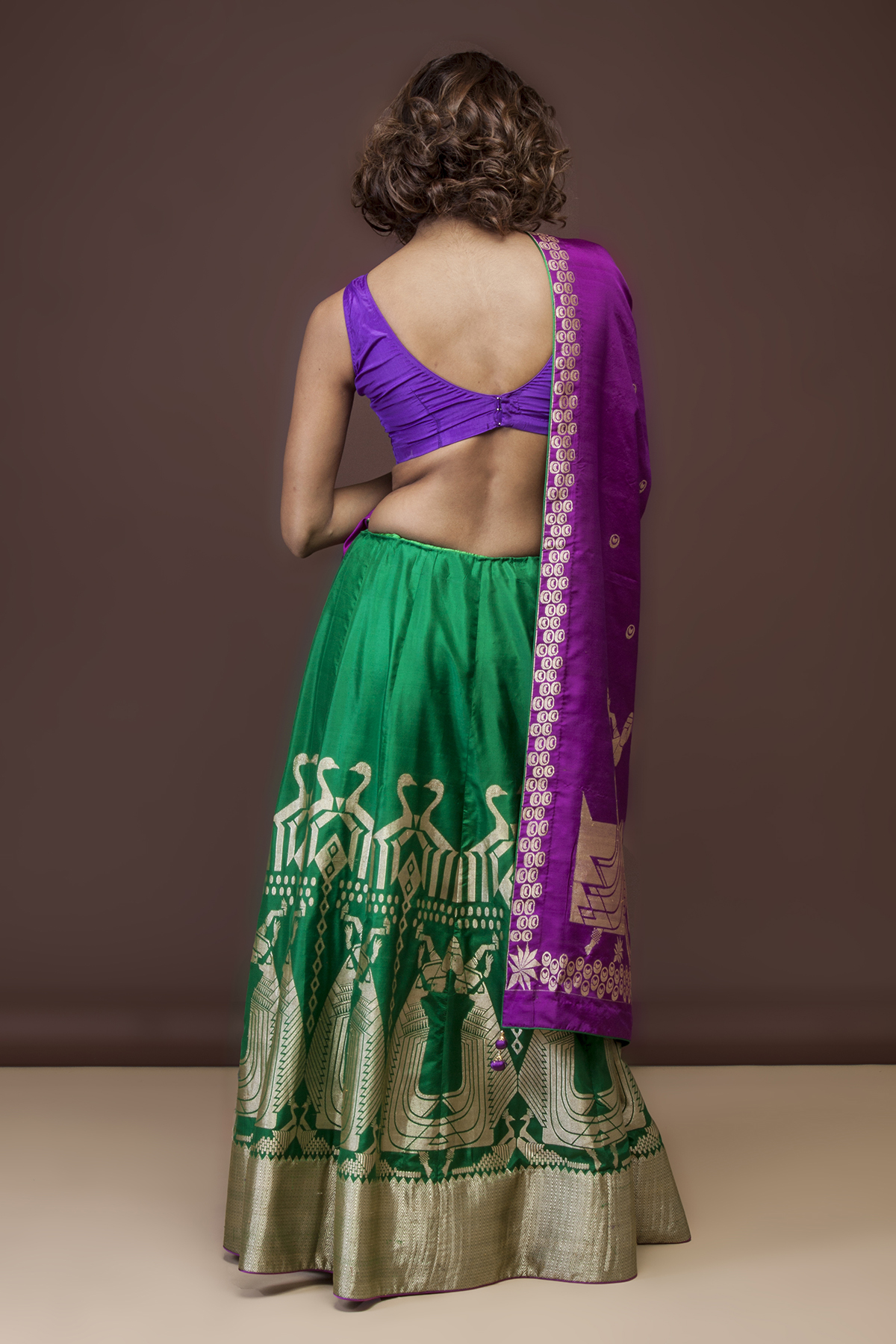 Green Silk Lehenga Purple Dupatta Ekaaya