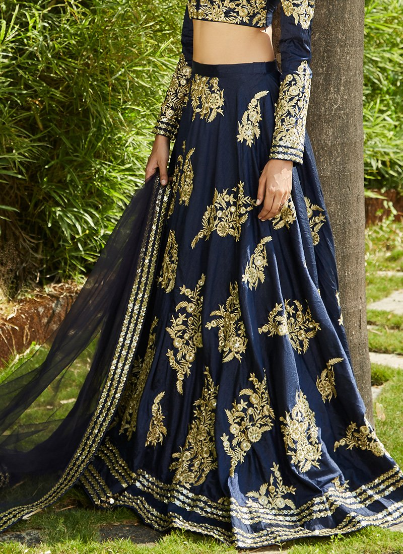 Navy Blue Heavy Embroidered Lehenga