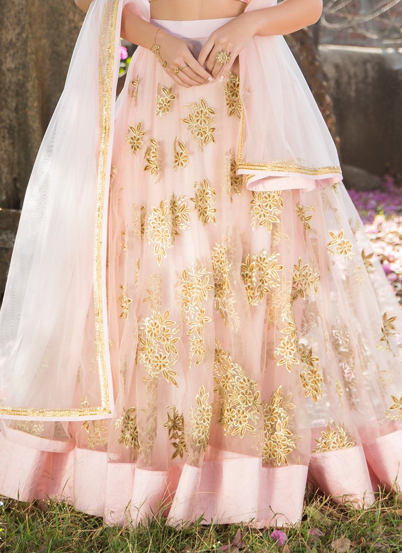 Light Pink Gold Embroidered Lehenga