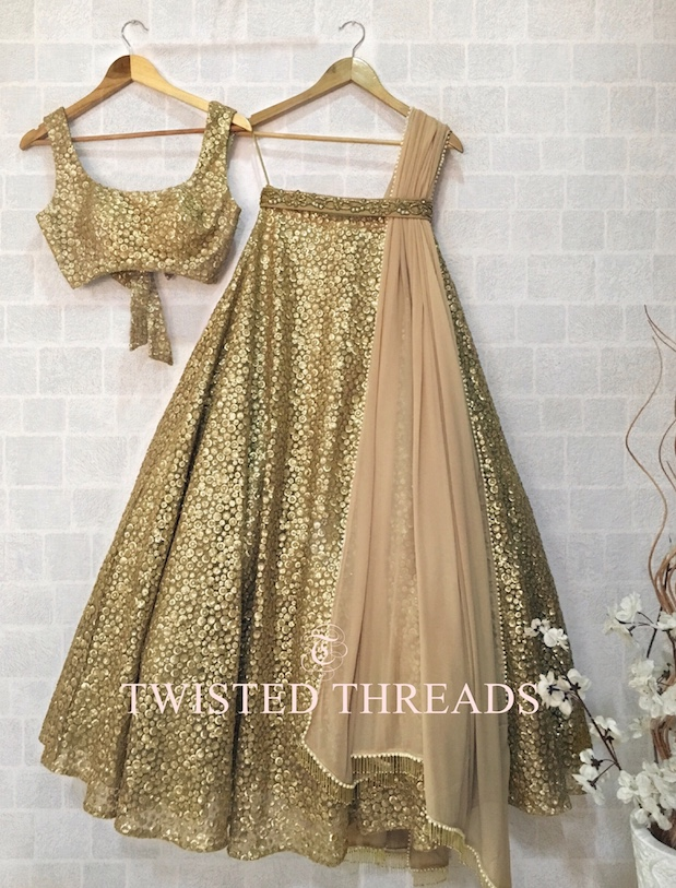 Gold Lehenga Twisted Threads