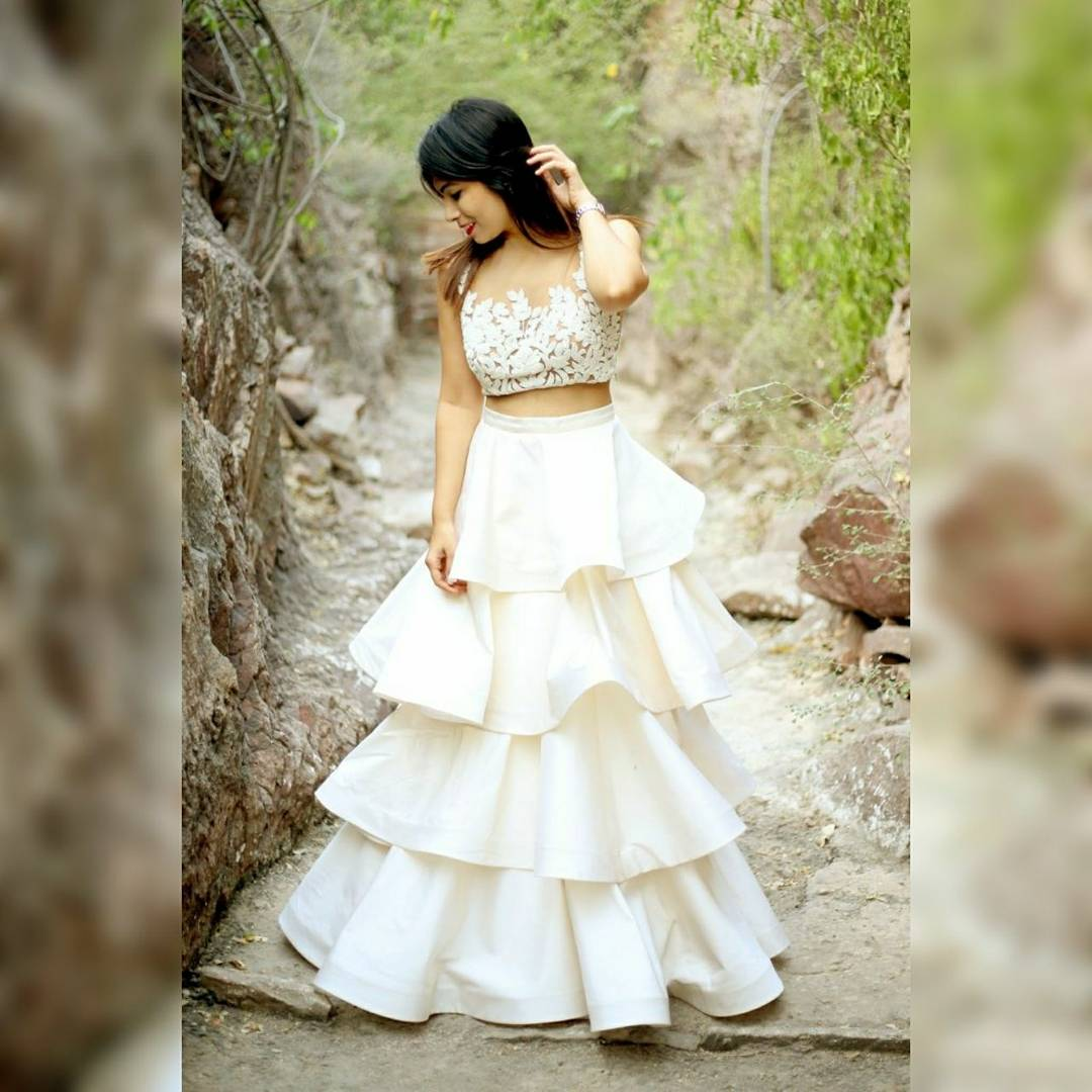 Ivory Tiered Ruffle Skirt Krupa Jain Label