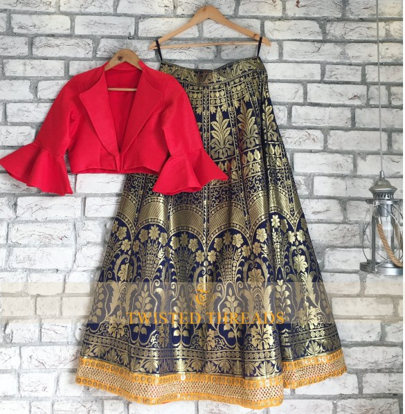 Navy Blue Brocade Lehenga Twisted Threads