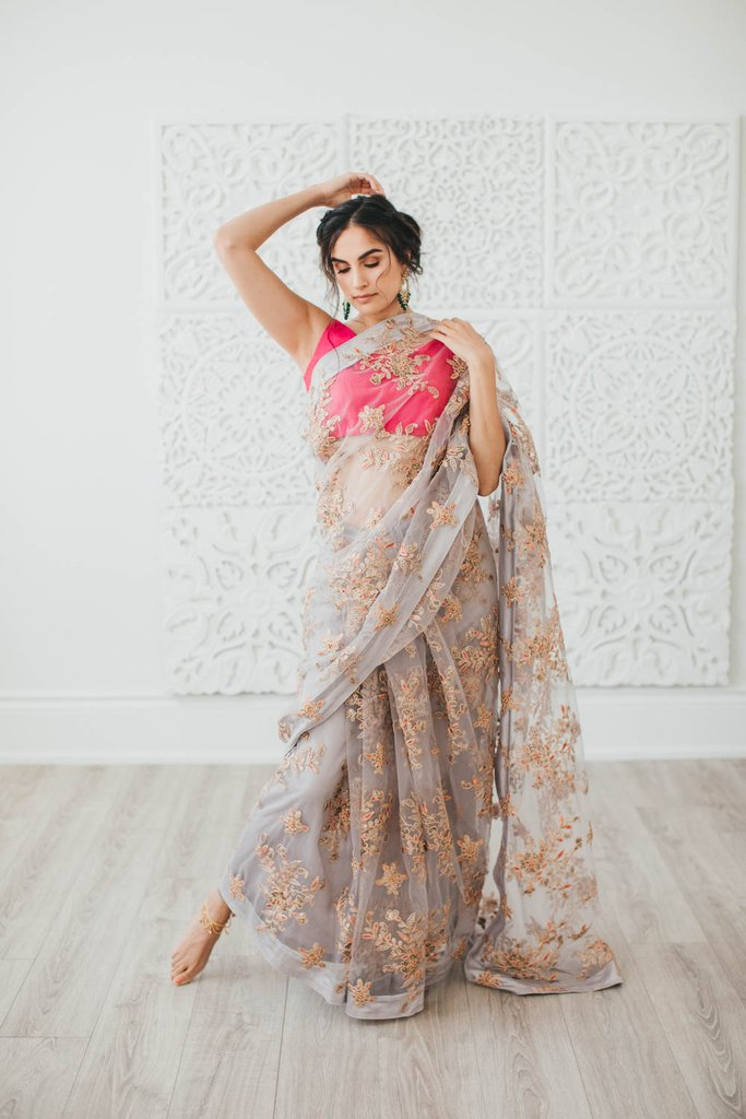 Grey Embroidered Poppy Lane Saree