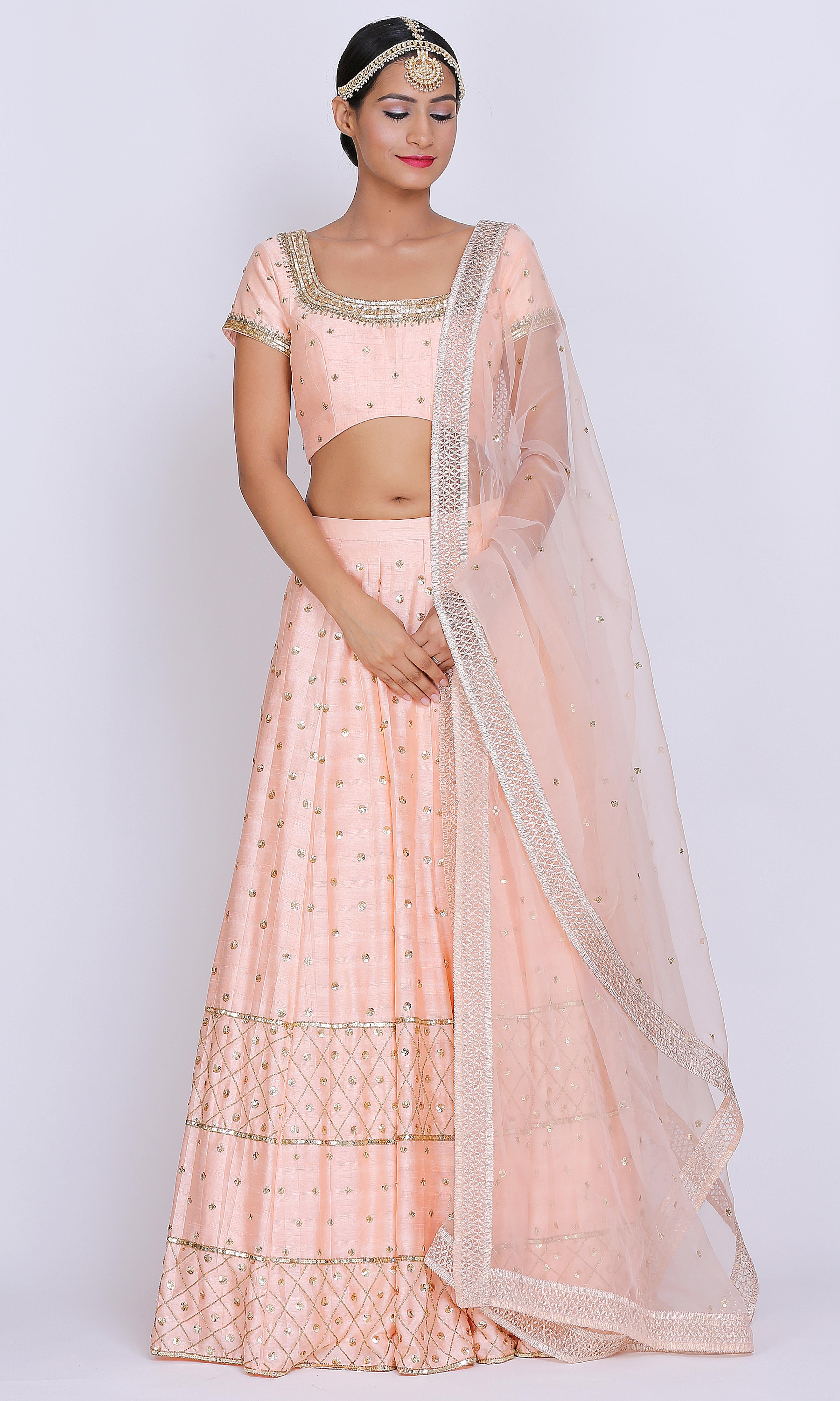 Peach Jaal Walia Jones Lehenga