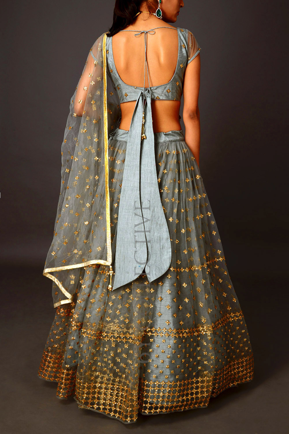 Grey Sequins 6YCollective Lehenga