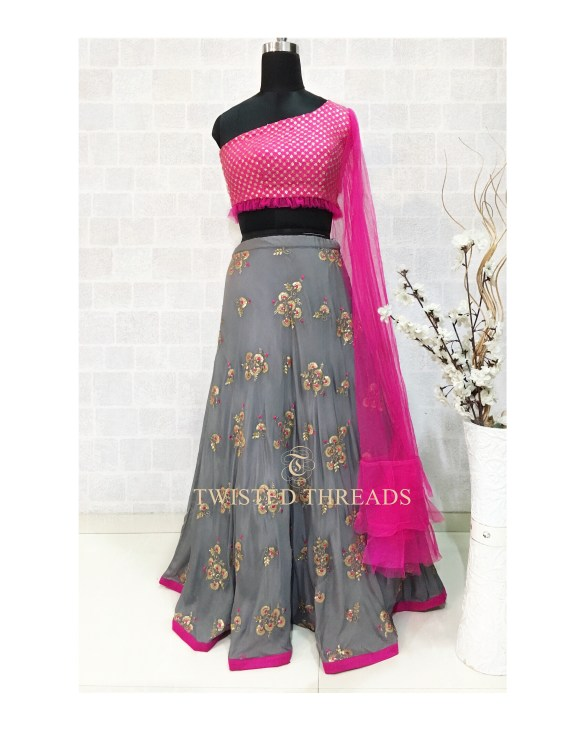 Grey Twisted Threads Lehenga