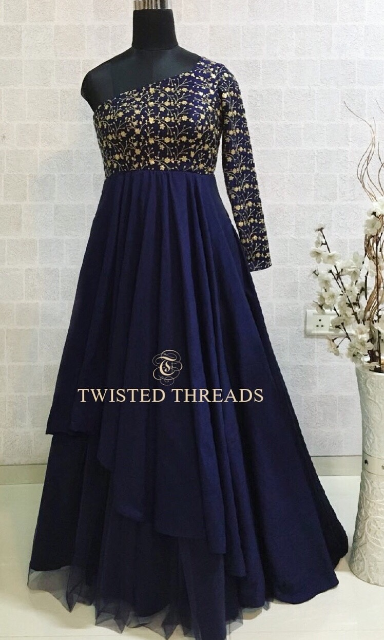 Midnight Blue Twisted Threads Evening Gown
