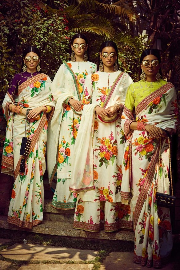 Ivory Summer Bloom Painted Sabyasachi Saree