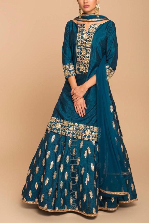 Greek Blue Gota Patti Kurta Lehenga