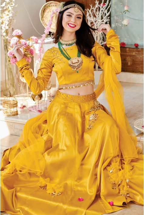Yellow Flared Satin Lehenga