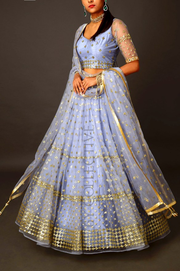 Periwinkle Lehenga with Geometric Sequins