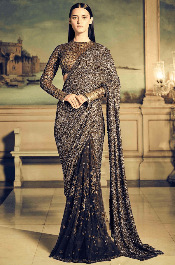 Sabyasachi Coffee Lehenga Saree