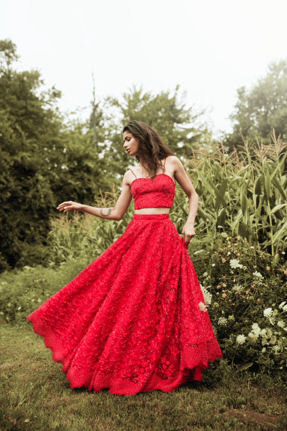 Mani Jassal Red Savannah Lehenga