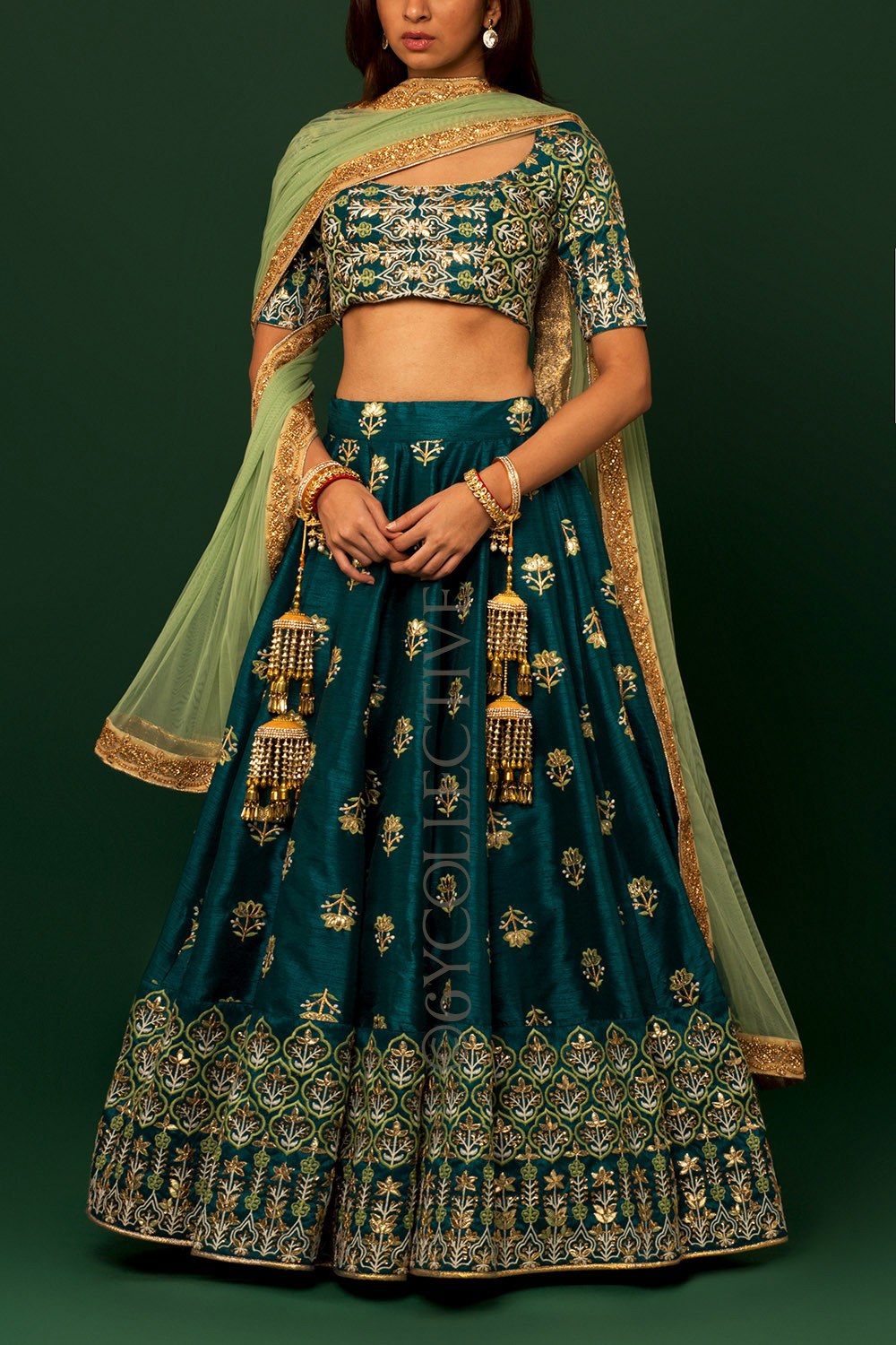 Greek Blue Jade Embroidered Lehenga