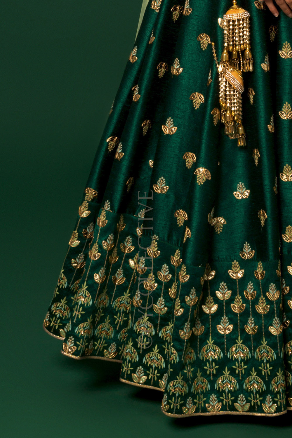 Emerald Green Embroidery Lehenga