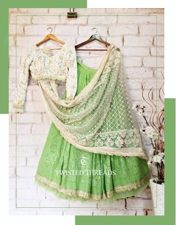Georgette Green Sequins Twisted Threads Lehenga