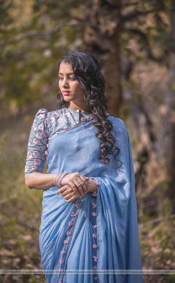 Blue Silk Chiffon Saree