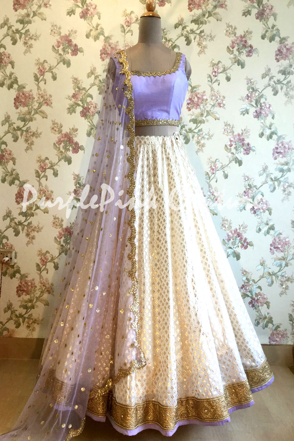 Off White Chanderi Silk Lehenga