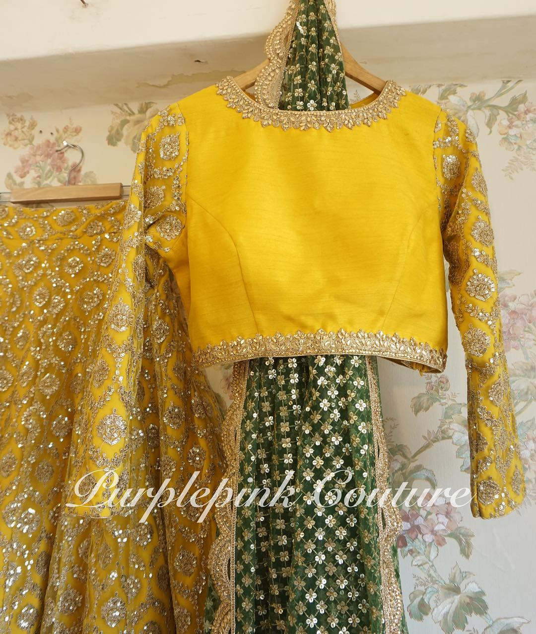 Yellow Sequins Lehenga Choli