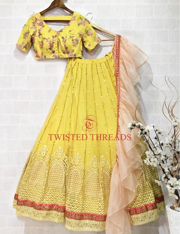 Yellow Twisted Threads Lehenga