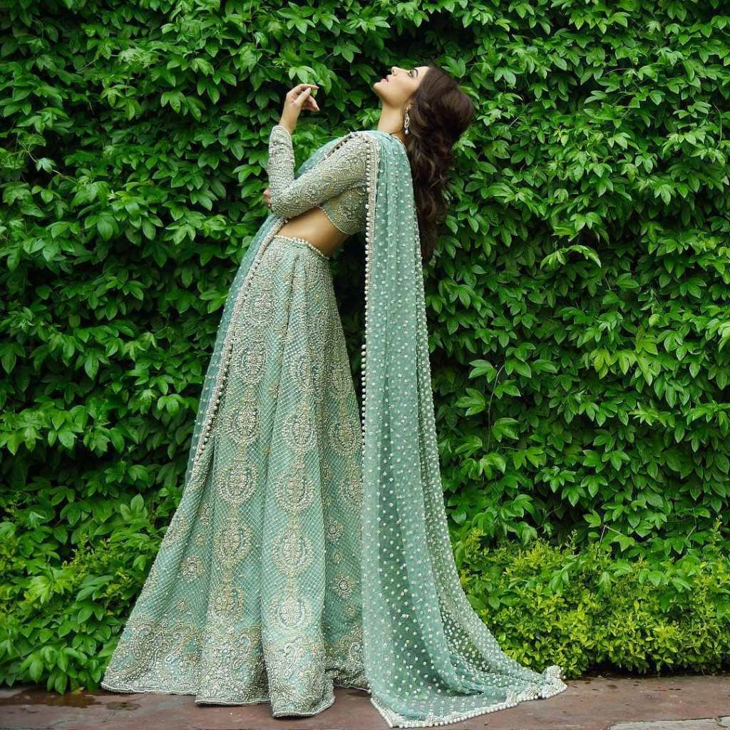 mint green Pakistani Lehenga