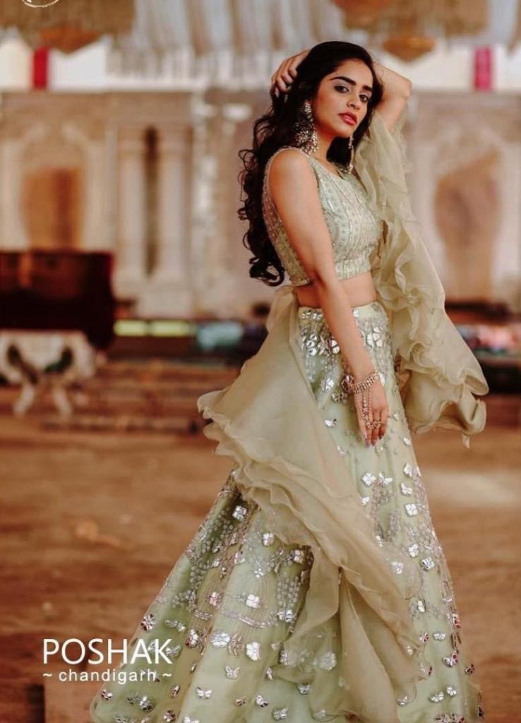 Light green ruffles lehenga