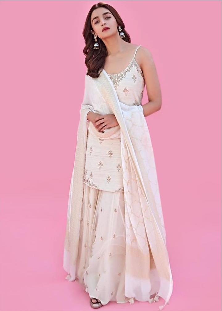 Alia Bhatt in white sharara