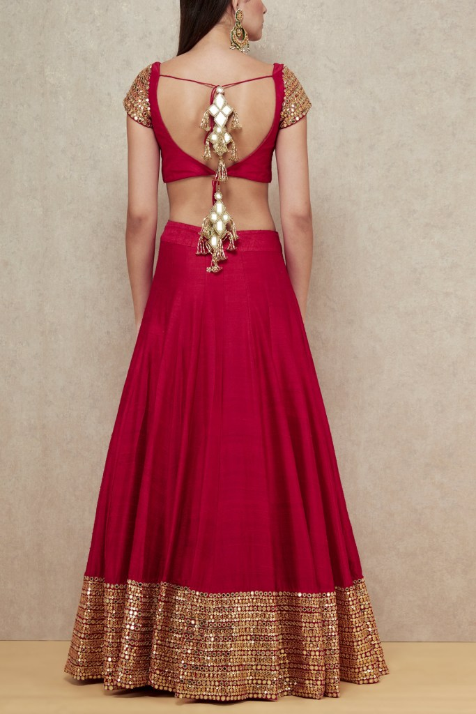 Abhinav Mishra Red Mirror Work Lehenga