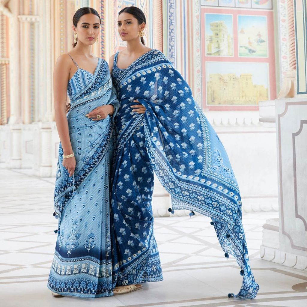 blue printed Anita Dongre saree