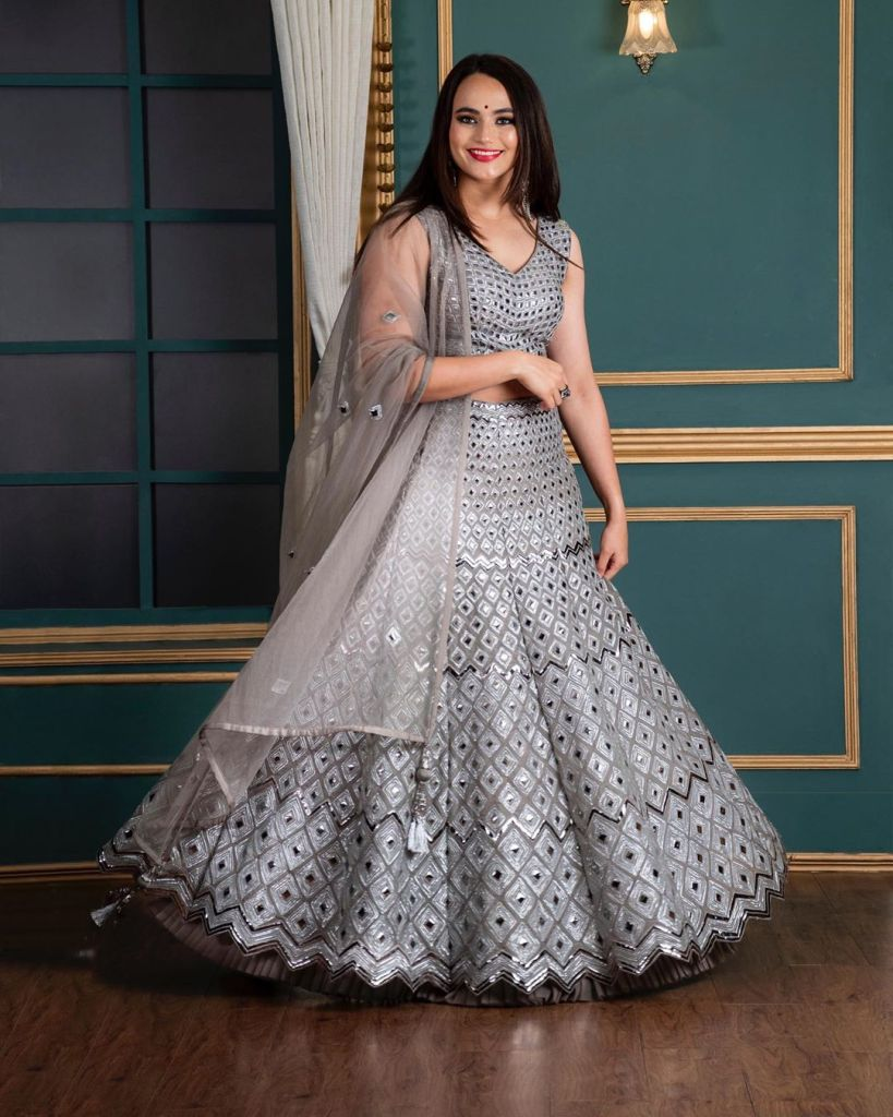 Grey Mirror Work Koskii Lehenga