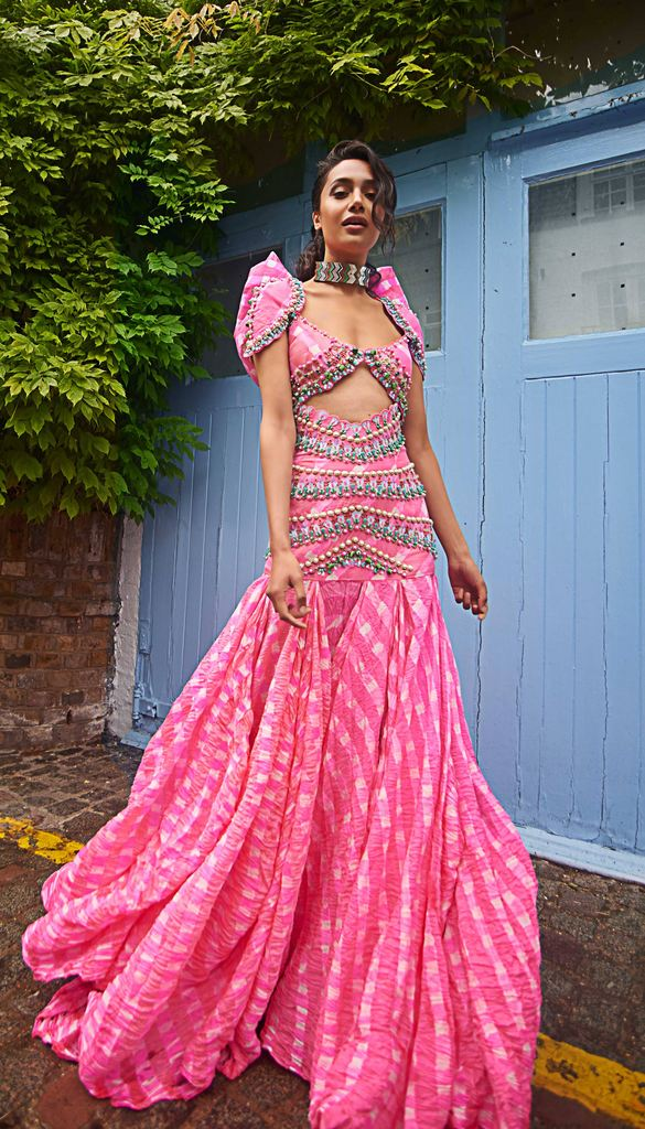 Bralettes with High Waisted Lehenga Skirts by Papa Don't Preach by Shubhika