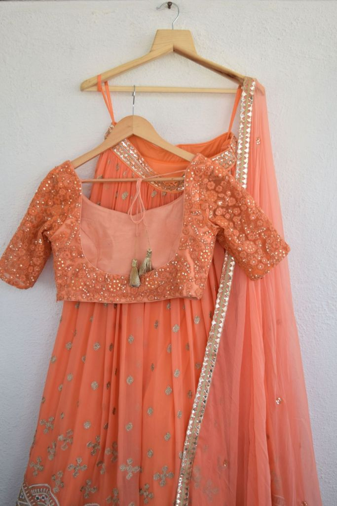 Anisha Shetty Pumpkin Orange Lehenga