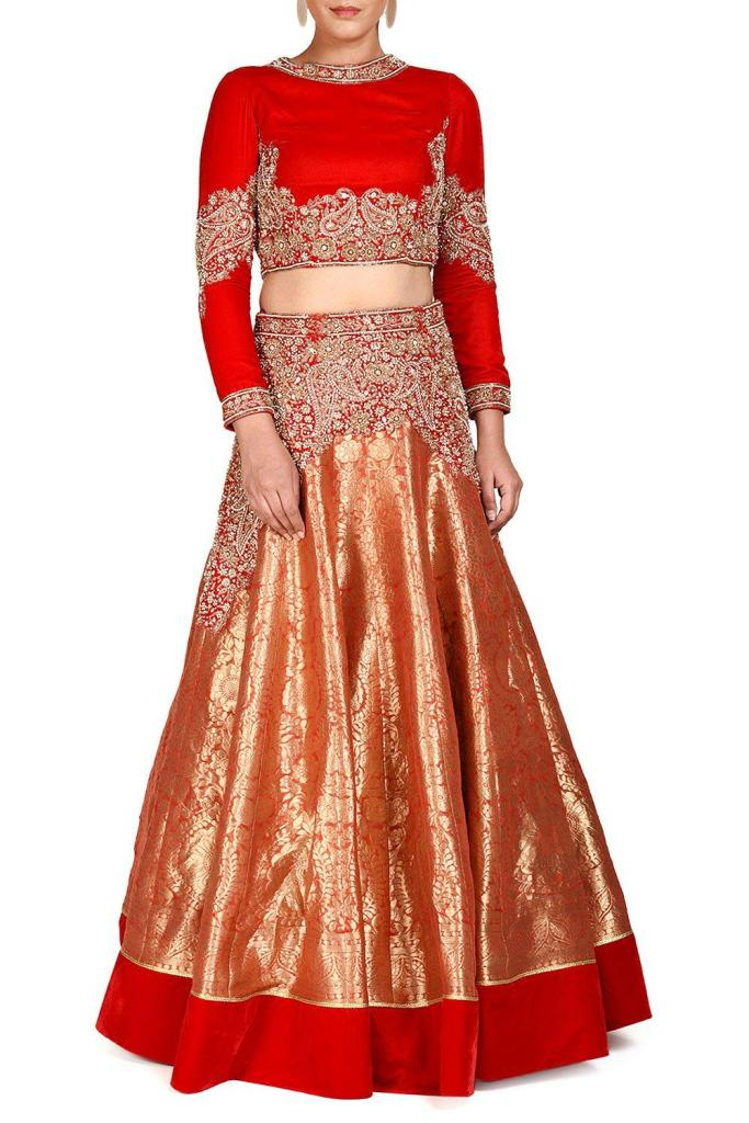 Red Banarasi Embroidered Lehenga Price