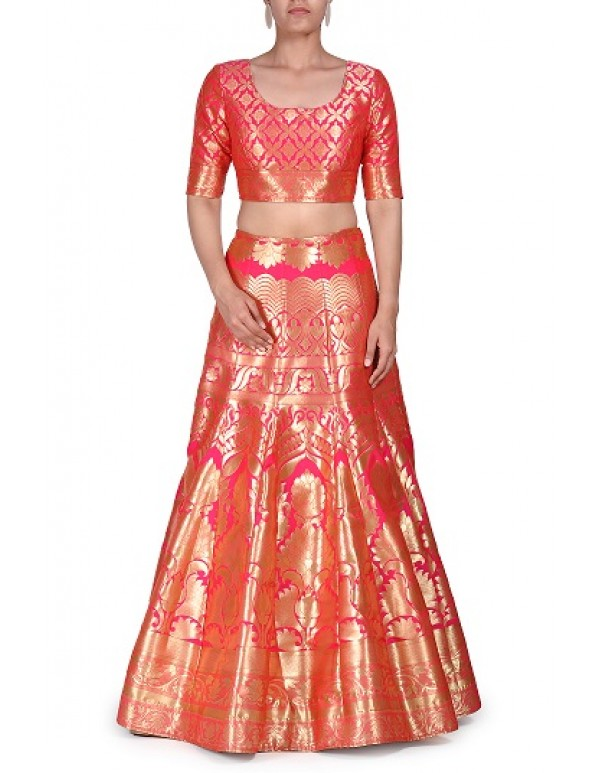 Peach Banarasi Lehenga With Embellished Jacket