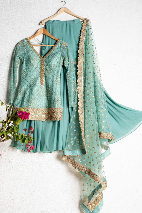 Turkish Blue & Gold Sharara Set