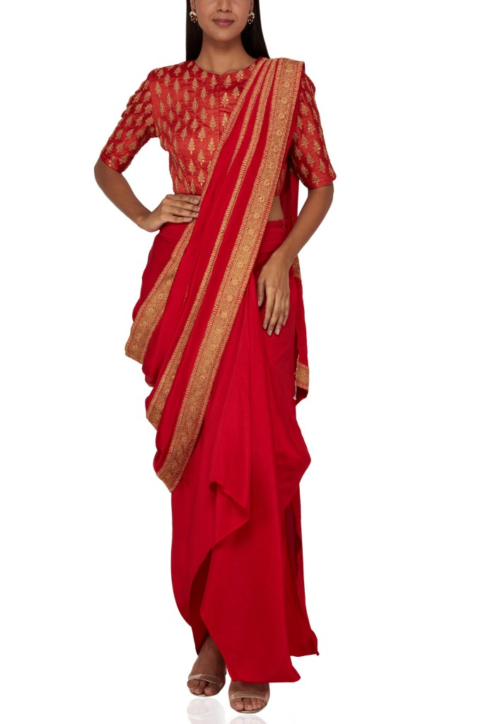 Anamika Khanna Red Draped Sari Set