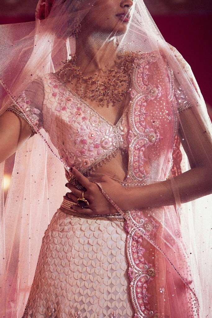 Beige And Blush Embroidered Lehenga Set