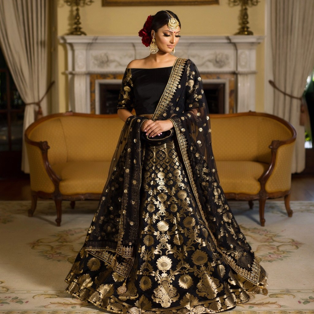 Black Gold Brocade Lehenga
